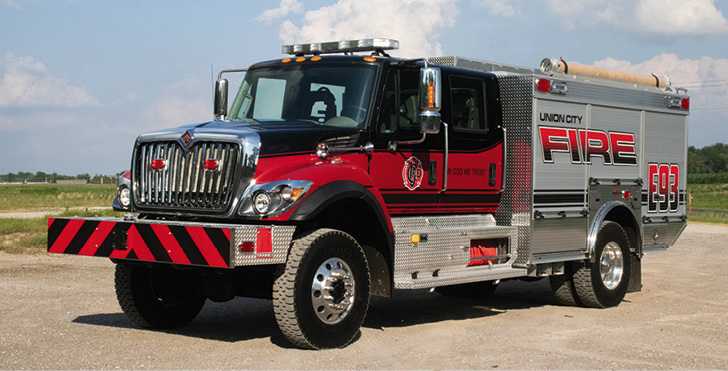 Rosenbauer—Union City (IN) Fire Department Timberwolf pumper. International HD 7500 4×4 cab and chassis; Cummins L9 450-hp engine; Rosenbauer NH 1,250-gpm pump with pump-and-roll feature; UPF Poly 750-gallon water tank; 30-gallon foam cell; Rosenbauer Fix Mix Class A foam system; EXT heavy-duty aluminum body; ground sweep nozzles. Dealer: Jeff Stigall, Sentinel Emergency Solutions, Arnold, MO.