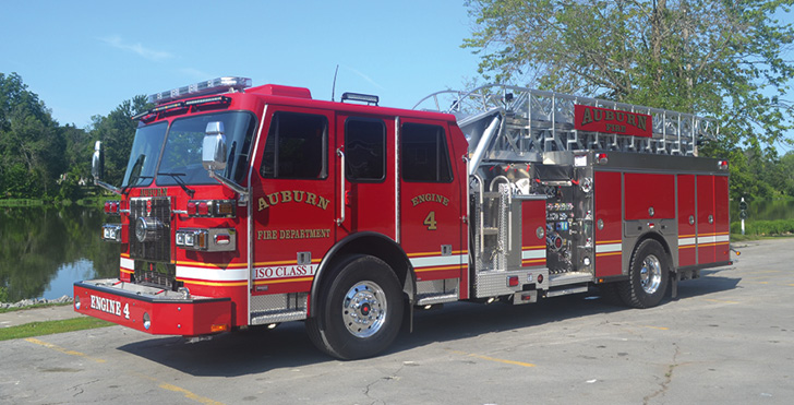 Sutphen—Auburn (NY) Fire Department single-axle aerial SA75 aerial ladder quint. Monarch cab and chassis; Cummins L9 450-hp engine; Waterous CSU-2000 2,000-gpm pump; 470-gallon polypropylene tank; 30-gallon foam cell; FoamPro 2001 single-agent foam system. Dealer: Nick Catalino, Vander Molen Fire Apparatus Sales and Service, Syracuse, NY.