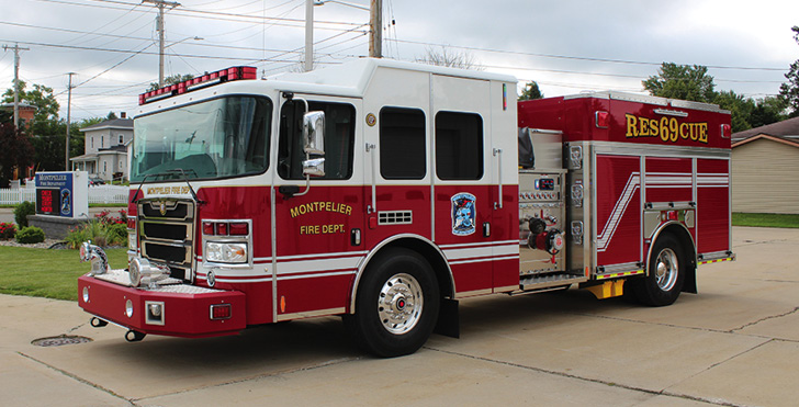 HME Ahrens-Fox—Village of Montpelier (OH) Fire Department pumper. Ahrens-Fox AF1 cab and chassis; Cummins L9 450-hp engine; Ahrens-Fox AF2000SS 1,750-gpm stainless steel centrifugal pump; UPF Poly 1,045-gallon water tank; 30-gallon foam cell; Ahrens-Fox direct injection 3.0-gpm foam system; rooftop compartments. Dealer: Steve Spath, Fire Safety Services Inc., Huntsville, OH.