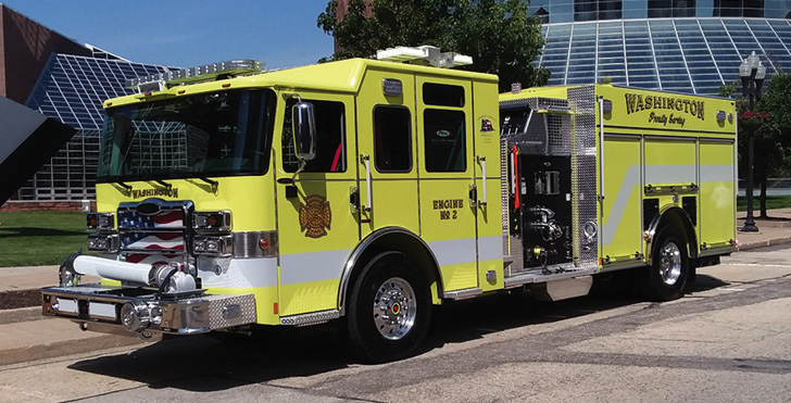 Pierce—Washington (IL) Fire Department top-mount pumper. Enforcer cab and chassis; Detroit DD13 505-hp engine; Waterous CSU 1,500-gpm pump; UPF Poly 1,250-gallon water tank; Will-Burt Pow NS4.5-900WHL light tower; Harrison 6-kW generator. Dealer: Greg Hinkens, Global Emergency Products, Aurora, IL. (Photo by author.)