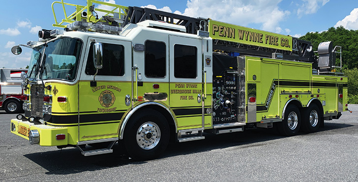 KME—Penn Wynne-Overbrook Hills (PA) Fire Company, 103-foot rear-mount Tuff Truck™ AerialCat™ ladder quint. Predator LFD cab and chassis; Cummins X12 500-hp engine; Waterous CSU 2,000-gpm pump; UPF Poly 500-gallon water tank; TOP rollover protection system; Straight Shot hosebed. Dealer: Vince Fusaro, KME, Nesquehoning, PA.