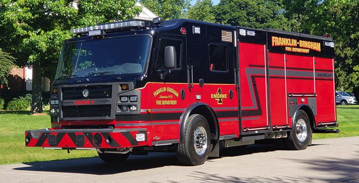 Rosenbauer—Franklin-Bingham Fire Department, Franklin, MI, pumper. Commander cab and chassis; Cummins L9 450-hp engine; Waterous CSUC20 1,500-gpm pump; 1,000-gallon polypropylene water tank; 20-gallon foam cell; FRC TurboFoam TFC 100 single-agent foam system. Dealer: Bill Sedlacek. Emergency Vehicles Plus, Holland, MI. (Photo courtesy of Tony Averbuch.)