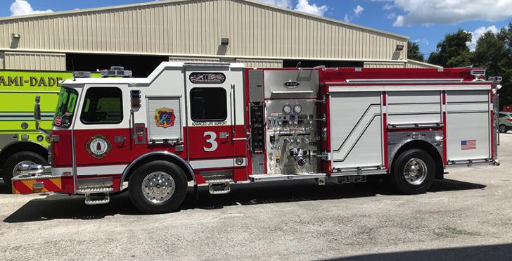 E-ONE—Sarasota County (FL) Fire Department rescue-pumper. Cyclone II cab and chassis; Cummins L9 450-hp engine; Hale Qmax 1,250-gpm pump; 1,000-gallon polypropylene water tank; 30-gallon foam cell; FoamPro 2001 single-agent foam system; Harrison 6-kW generator; FRC 360 camera system. Dealer: RTC Direct, Ocala, FL.