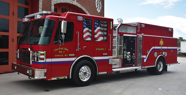Ferrara—Big Horn County Fire District #1, Lovell, WY, top-mount pumper. Cinder cab and chassis; Cummins L9 450-hp engine; Waterous CSU 1,500-gpm pump; 1,000-gallon polypropylene water tank; two 20-gallon foam cells; FoamPro 2002 Class A and B foam system; TFT Crossfire XFC-62 1,250-gpm portable lightweight monitor package. Dealer: Mike Covington, Star Emergency Group, Houston, TX.