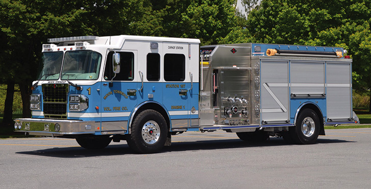 Spartan ER—Moon Township (PA) Volunteer Fire Company pumper. Metro Star LFD cab and chassis; Cummins ISL 450-hp engine; Hale Qmax 1,500-gpm pump; 1,000-gallon polypropylene water tank; 40-gallon foam cell; Harrison 8-kW generator. Dealer: Dan Polinsky, 1st Out Specialty Vehicles & Equipment, Moon Township, PA. (Photo by Jason Coleman-Cobb.)