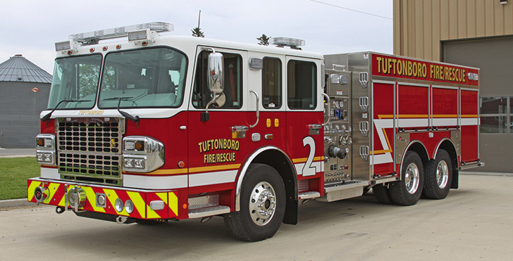 Toyne—Tuftonboro Fire Department, Mirror Lake, NH, pumper. Spartan Gladiator MFD cab and chassis; Cummins X15 565-hp engine; Waterous CSCU20 1,500-gpm pump; UPF Poly 2,000-gallon water tank; 30-gallon foam cell; FoamPro 2002 Glass A foam system; Onan 10-kW generator; Elkhart Stinger model 8297 monitor with TFT 18-inch extension. Dealer: Jake Bourdeau, Eastern Fire Apparatus, Milton, NH.
