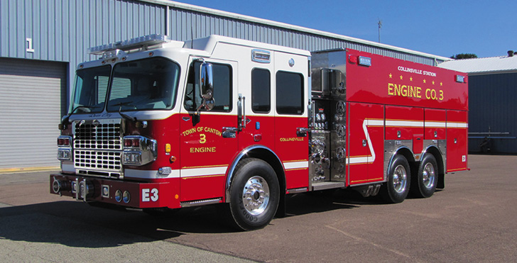 4 Guys Fire Trucks—Town of Canton (CT) Volunteer Fire & EMS, pumper-tanker. Spartan Gladiator MFD cab and chassis; Cummins X15 565-hp engine; Hale Qmax-XS 2,000-gpm pump; UPF Poly 2,500-gallon water tank; TFT Crossfire deck gun on 18-inch TFT Extend-A-Gun; Newton 10-inch square electric dump valves on sides and rear; Zico Quic-Lift horizontal ladder bracket. Dealer: Jon Cares, Granite Fire Apparatus Inc., Pelham, NH.