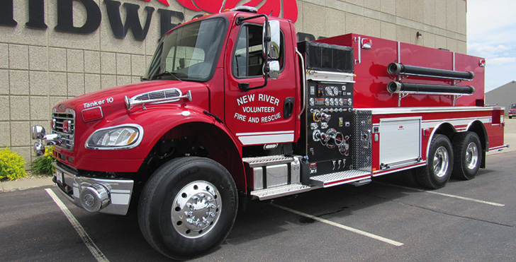 """Midwest Fire—New River Volunteer Fire & Rescue, Crumpler, NC, tanker-pumper. Freightliner M2 cab and chassis; Cummins L9 350-hp engine; Waterous CSU 1,500-gpm pump; APR polypropylene 3,000-gallon water tank; three Newton 10-inch square dump valves with telescoping chutes; Zico electric portable tank carrier and 3,000-gallon portable tank; All-Poly™ construction, """"sweep out"""" compartments; Rear View Safety rear-view camera system. Dealer: Joe Hlushak, Midwest Fire, Luverne, MN."""