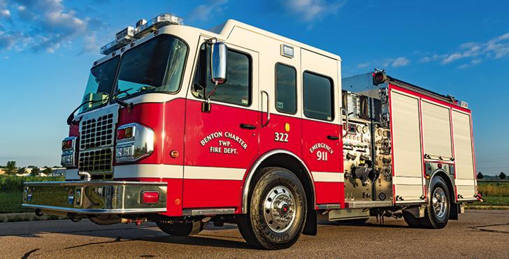 Spencer Manufacturing—Benton Township (MI) Fire Department pumper. Spartan Metro Star cab and chassis; Cummins L9 400-hp engine; Hale Qflo 1,250-gpm pump; APR polypropylene 1,000-gallon water tank; 20-gallon foam cell; Smart Foam 2.1A single-agent foam system; Smart Power 6.2-kW generator. Dealer: Grant Spencer, Spencer Manufacturing, South Haven, MI.