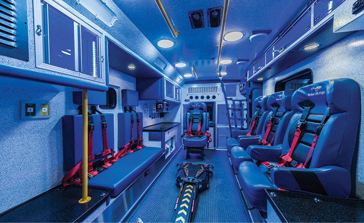 The interior of the Duke Life Flight critical care transport ambulance.