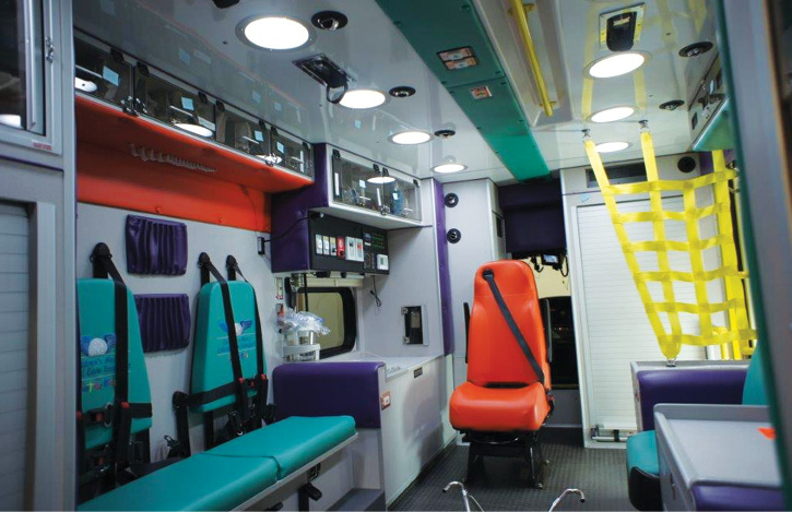 The interior of the Mercy Children's Hospital St. Louis pediatric critical care rig.