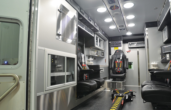 The interior of a pediatric critical care ambulance built by Horton for Children's Hospital of San Antonio (TX).