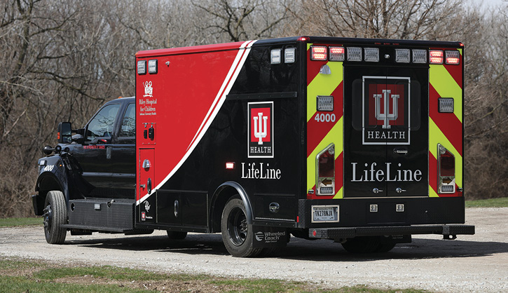 Wheeled Coach built this pediatric critical care ambulance for Riley Hospital for Children (IN).