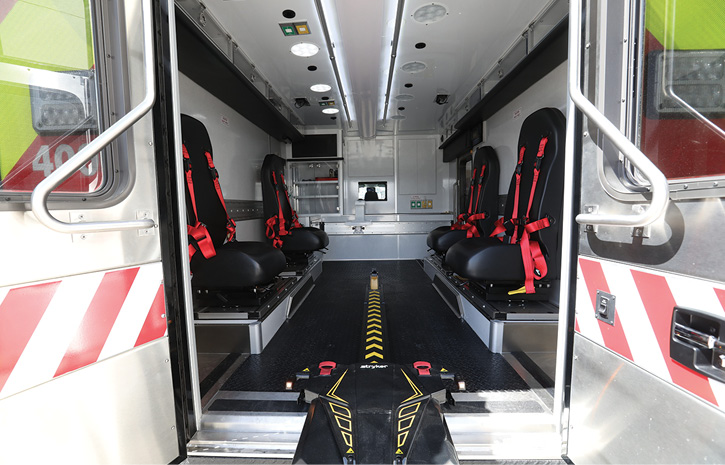 The interior of the pediatric critical care ambulance that Wheeled Coach built for Riley Hospital for Children.