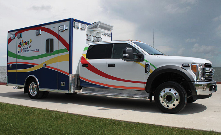 Life Line Emergency Vehicles built this pediatric critical care ambulance on a Ford F-550 chassis and cab for Driscoll Children's Hospital (TX)