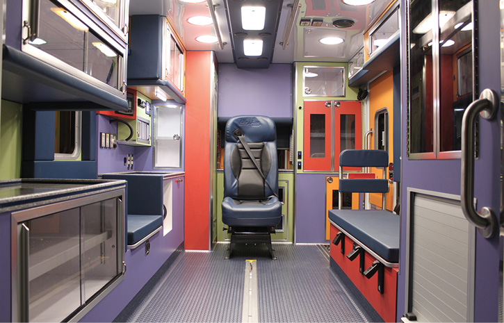 The interior of the Driscoll Children's Hospital rig.