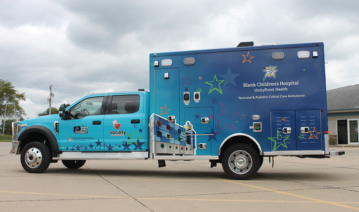 Life Line Emergency Vehicles built this neonatal and pediatric critical care ambulance on a Ford F-550 chassis and cab for Blank Children's Hospital (IA).