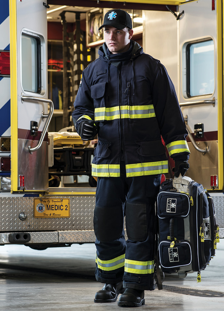 Lion makes MedPro™ EMS rescue wear with a Milliken Westex® DH fire-resistant outer shell and HydroPel Premier finish and a Gore® CROSSTECH® EMS moisture barrier that protects against blood, bodily fluids, and water.
