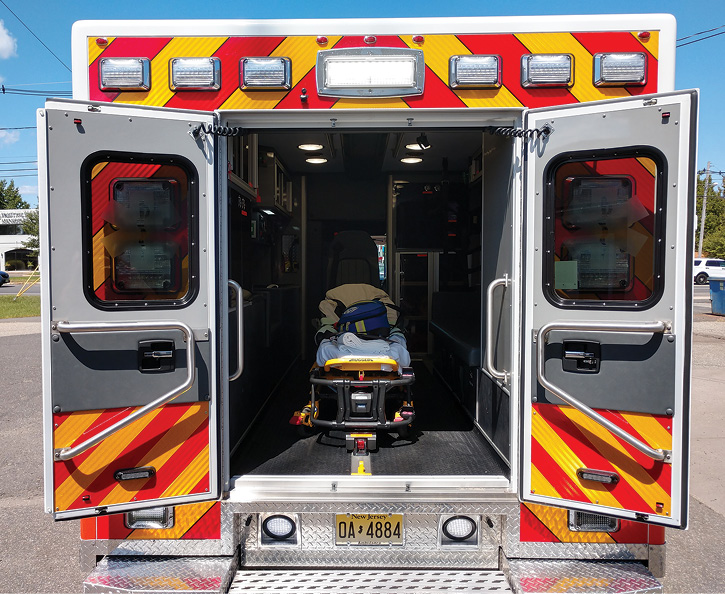 In the patient box, Flemington-Raritan uses a Stryker Power-LOAD fastening system and cot with a mini rail clamp for mass casualty situations.