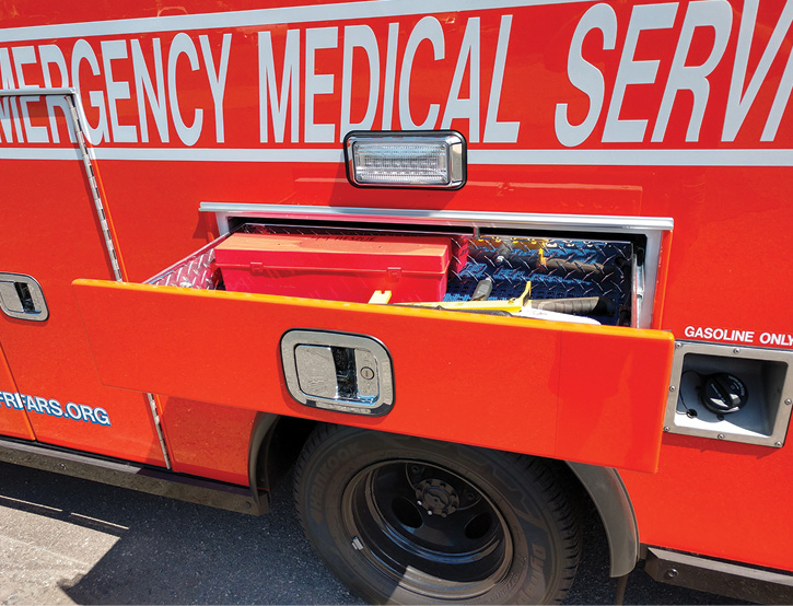 The Flemington-Raritan ambulance has a slide-out drawer on the driver's side above the rear wheel well that carries hand tools.