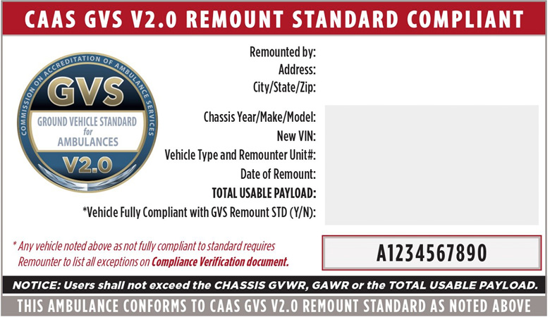 While the GVS new vehicle sticker is blue, the remount compliance sticker and accompanying documents are coded in red and provide critical vehicle information.