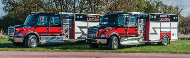 Two of seven Freightliner/Spartan/Darleypumpers for the Langley Township (BC) Fire Department