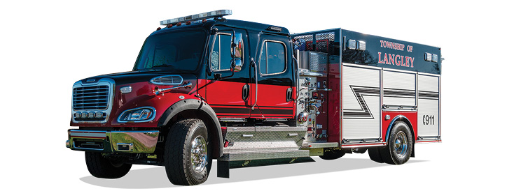 The driver's side with standard firefightingpumppanel and high side compartments.