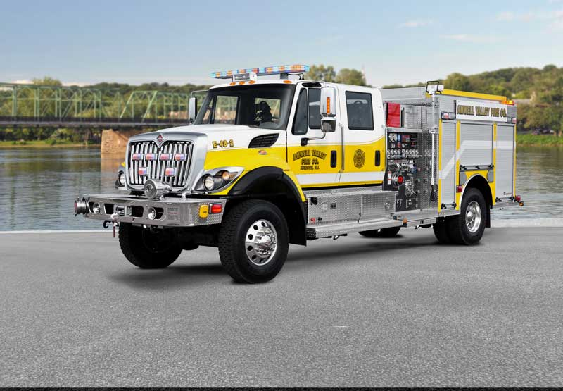 Rosenbauer built this pumper for the Amwell Valley (NJ) Fire Company on an International 7300 4x4 chassis and four door cab, carrying a Hale DSD 1,500-gpm pump, a 750-gallon water tank, and a 20-gallon foam tank.