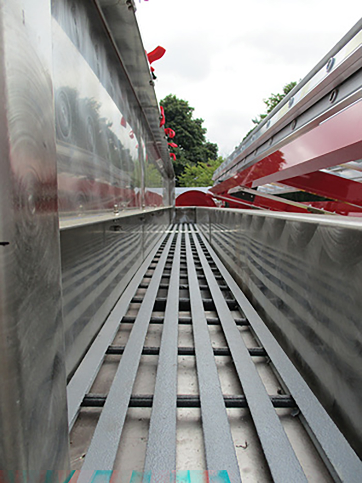 Slightly moving the ladder rack enables it to serve as a fall preventer for a full-length albeit narrow walkway to facilitate hose loading.