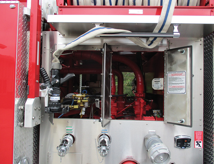 The dual hinged doors and hinged gauge panel opened to access the top of the pump house.