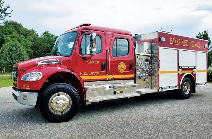 E-ONE—Baker (FL) Fire District side-mount pumper. Freightliner M2 106 4-door cab and chassis; Cummins L9 330-hp engine; Hale DSD 1,500-gpm pump; UPF Poly 1,030-gallon water tank. Dealer: Chris Thwaits, REV RTC/Hall-Mark RTC, Ocala, FL.
