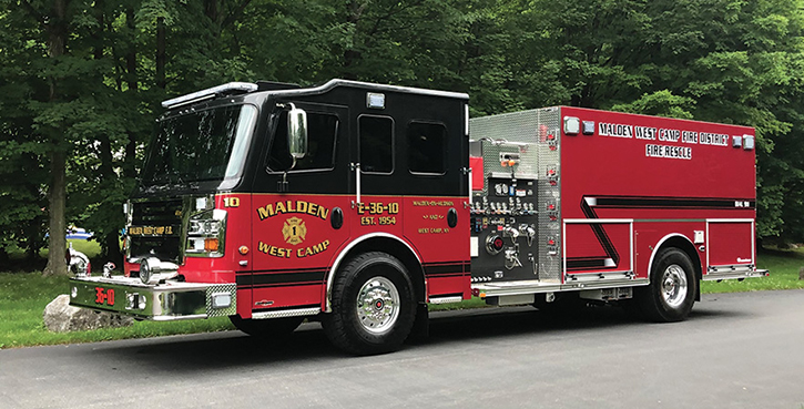 Rosenbauer—Malden West Camp Fire District, West Camp, NY, pumper. Commander 548 cab and chassis; Cummins L9 450-hp engine; Hale DSD 1,500-gpm pump; UPF Poly 1,500-gallon water tank; Command Light CL602 light tower; Harrison 15-kW generator. Code 3 LED warning lights. Dealer: Blake Garrison, Garrison Fire & Rescue Corp, Palenville, NY.