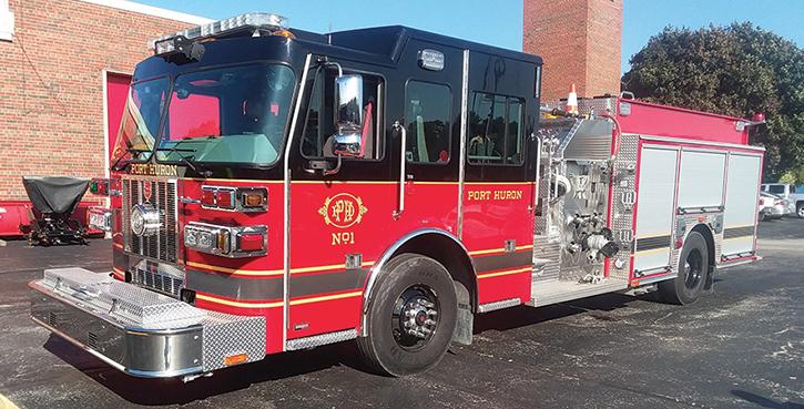 Sutphen—Port Huron (MI) Fire Department pumper. Monarch heavy-duty cab and chassis; Cummins L9 380-hp engine; Hale Qmax 1,500-gpm pump; Pro Poly 750-gallon polypropylene water tank; 20-gallon foam cell; Hale FoamLogix 2.1 Class A foam system. Dealer: David R. Desrochers, Apollo Fire Equipment Company, Romeo, MI. (Photo by author.)
