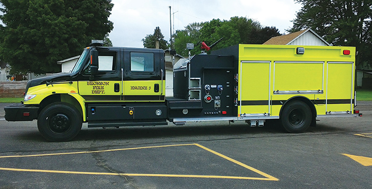 Rosenbauer—Bronson (MI) Fire Department pumper. International 4400 SBA 4x2 4-door cab and chassis; Cummins L9 350-hp engine; Hale DSD 1.500-gpm pump, 1,000-gallon polypropylene water tank; 20-gallon foam cell; FoamPro 1600 Class A foam system. Dealer, Bob Colter and Jim Warner, Emergency Vehicles Plus, Holland, MI.