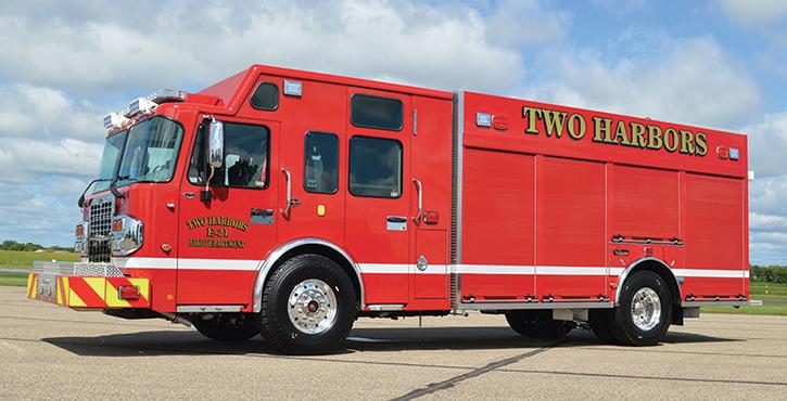 CustomFIRE—Two Harbors (MN) Fire Department pumper. Spartan Metro Star cab and chassis; Cummins L9 450-hp engine; Waterous S-100D 1,500-gpm rear-mount pump; Pro Poly 1,500-gallon polypropylene water tank; 30-gallon foam cell; FoamPro 2001 single-agent foam system. Dealer: Wayde Kirvida, Custom Fire Apparatus, Osceola, WI.