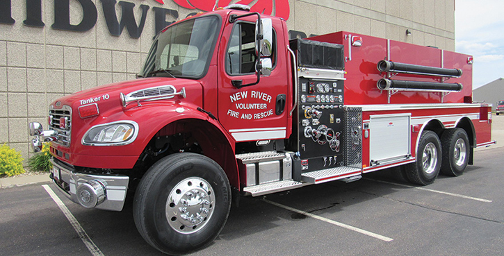 Midwest Fire—New River Volunteer Fire and Rescue, Crumpler, NC, pumper-tanker. Freightliner M2 106 cab and chassis; Cummins L9 350-hp engine; Waterous CSU 1,500-gpm pump; APR polypropylene 3,000-gallon water tank; three Newton stainless-steel 10-inch square dump valves with telescoping chutes; Zico electric portable tank carrier; 3,000-gallon portable tank; All-Poly™ construction. Dealer: Joe Hlushak, Midwest Fire, Luverne, MN.