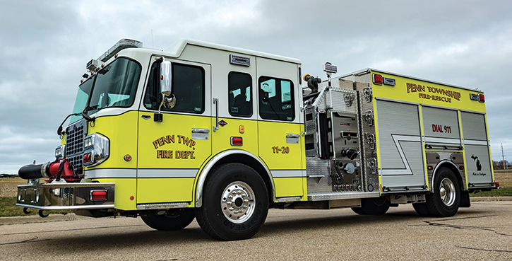 Spencer Manufacturing—Penn Township Fire Department, Cassapolis, MI, pumper. Spartan Metro Star cab and chassis; Cummins L9 450-hp engine; Hale Qmax XS 1,500-gpm pump; 1,000-gallon APR polypropylene water tank; 30-gallon foam cell; Hale 2.1 Class A foam system. Dealer: Spencer Manufacturing, South Haven, MI.