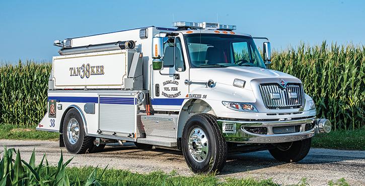 UST—Farmland (IN) Volunteer Fire Department tanker. International 4400 SBA 4x2 cab and chassis; Cummins L9 350-hp engine; Hale AP-50 500-gpm pump; 2,000-gallon APR polypropylene water tank. Dealer, Tim Swartz, Hoosier Fire Equipment Inc, Indianapolis, IN.