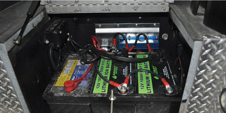 Rosenbauer also makes a Deep Cycle Lithium Battery APU that replaces the vehicle's chassis battery with high-amp deep-cycle lithium-ion batteries.