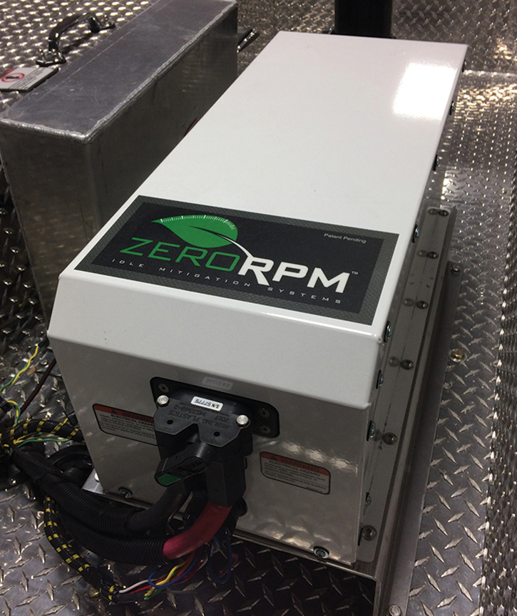 E-ONE partnered with ZeroRPM to install APUs powered by lithium-iron batteries on fire vehicles.