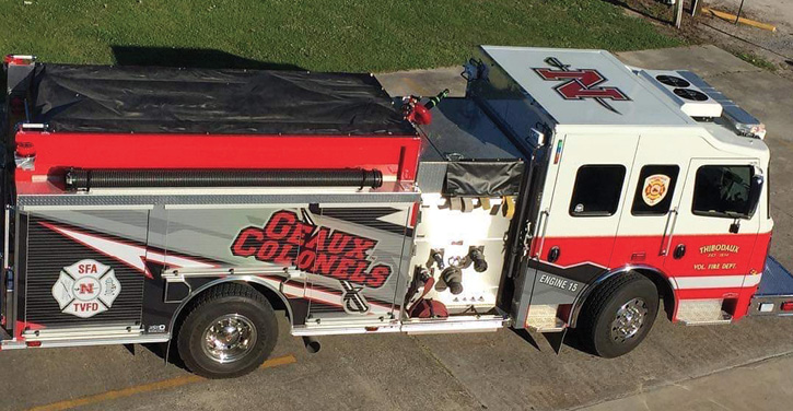 Rosenbauer engine refitted with Nicholls State Colonels and the SFA graphics