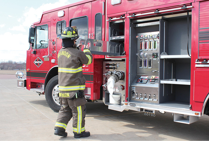 Safety is an important element in pumpers of the future, as shown on this IPS-NXT pumper built by Spartan ER, which minimized the operator's panel to maximize compartment width, giving firefighters the ability to keep equipment lower to the ground. (Photos 2 and 3 courtesy of Spartan ER.)