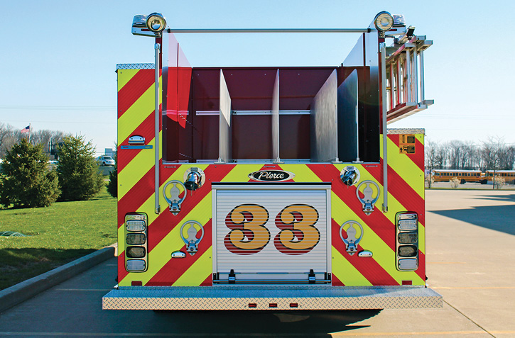 Lower hosebeds, like the one on this pumper built by Pierce Manufacturing Inc., are making vehicles safer by keeping firefighters on the ground instead of climbing on the rig. (Photos 6 and 7 courtesy of Pierce Manufacturing Inc.)