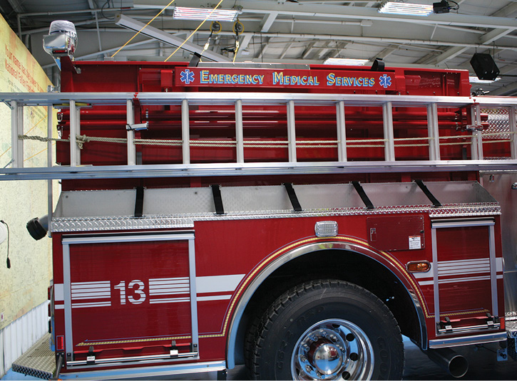 Another safety trend being seen on pumpers is a return to mounting ladders on the side of the rig instead of the top and also the option of carrying equipment on top of the low side compartments.