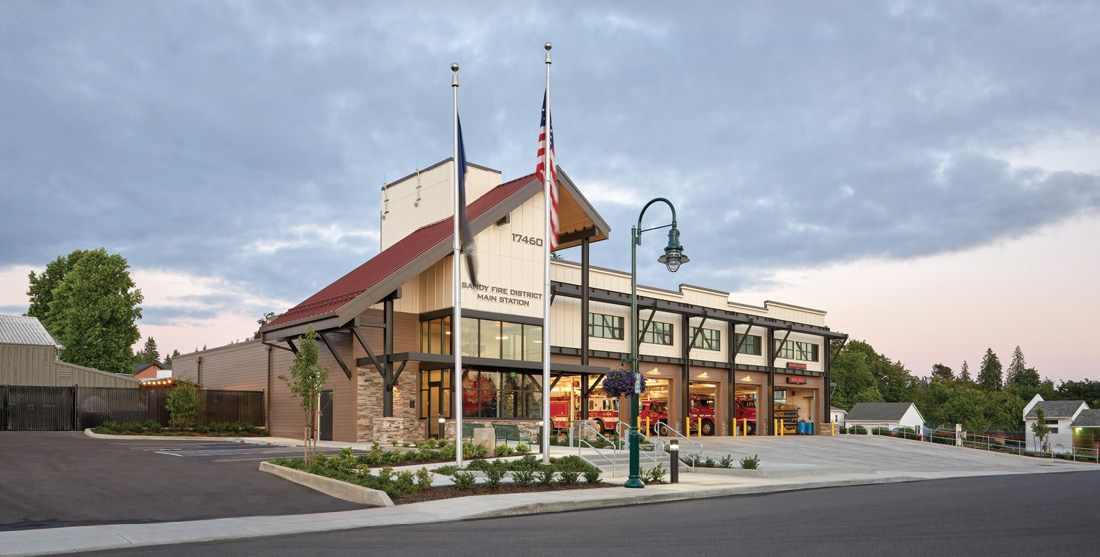 Sandy (OR) Fire District No. 72 turned to Mackenzie Architecture to redesign its main station to meet current seismic resistance standards, which required a two-year renovation and rebuilding of the structure. (Photos courtesy of Alan Brandt for Mackenzie Architecture.)