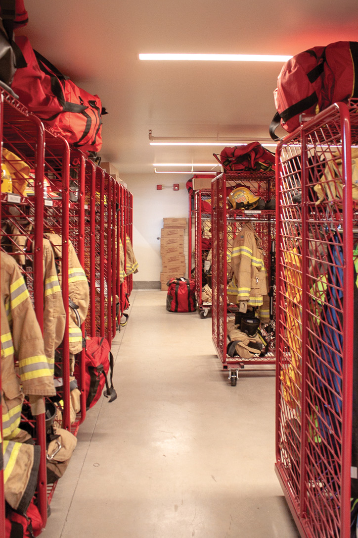 The turnout gear storage room.