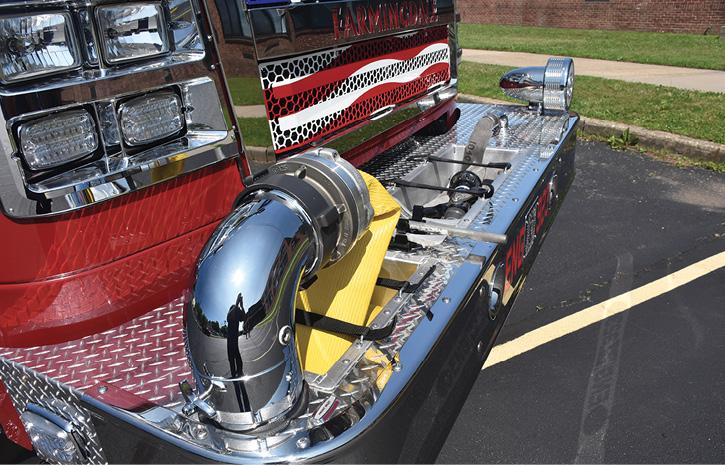 A swivel front suction and trash line on an extended front bumper.