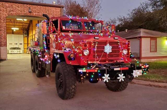 this rig from Calvert, Texas, was ready to participate in an annual tree lighting. Check out more decorated rigs in our Holiday Fire Apparatus collection.