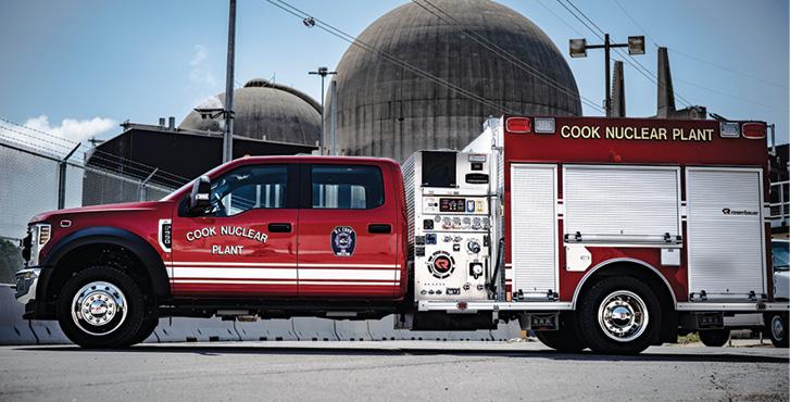 Rosenbauer—DC Cook Nuclear Plant, Bridgman, MI, pumper. Ford F-550 cab and chassis; a Ford F-550; Power Stroke 6.6L 360-hp engine; Rosenbauer N 1,500-gpm pump; 300-gallon polypropylene water tank; 20-gallon foam cell; FoamPro 2001 Class B foam system. Dealer: Bill Sedlacek, Emergency Vehicles Plus, Holland, MI.