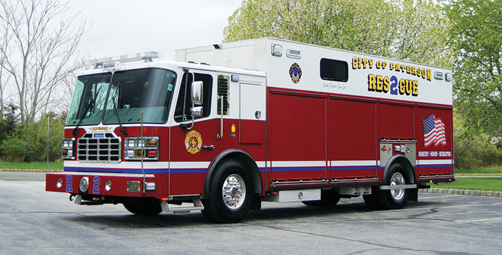 Ferrara—Patterson (NJ) Fire Department heavy rescue. Igniter 2-door cab and chassis; Cummins L9 450-hp engine; 22-foot walk-around rescue body with a 10-foot walk-in compartment; Harrison 10-kW generator; Crosby rope tie down points; bench seat with ladder and pike pole storage; seating for four; Whelen LED light package. Dealer: Jonathon VanNorman, Firefighter One LLC, Sparta, NJ.